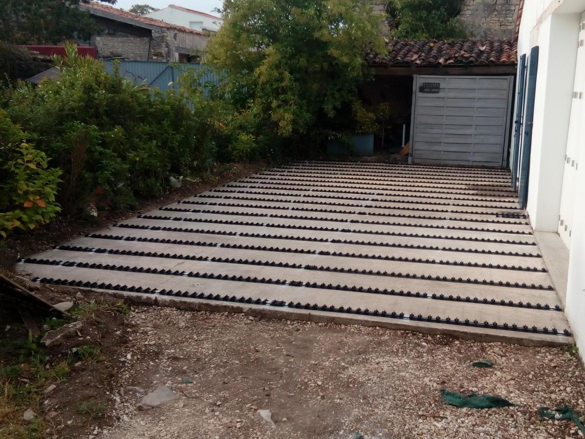 Structure aluminium terrasse bois faible hauteur