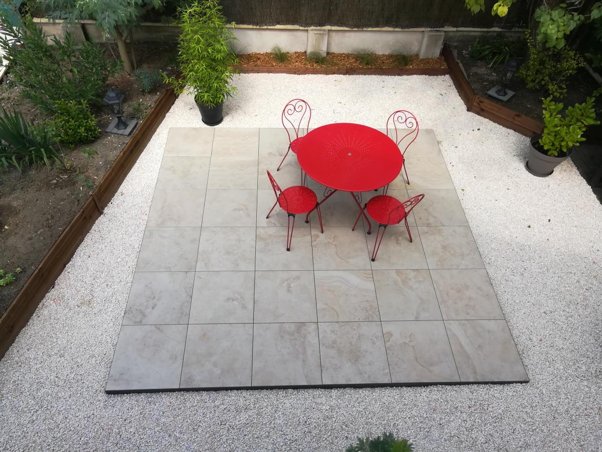 Pose terrasse grès cérame à Rochefort (17)